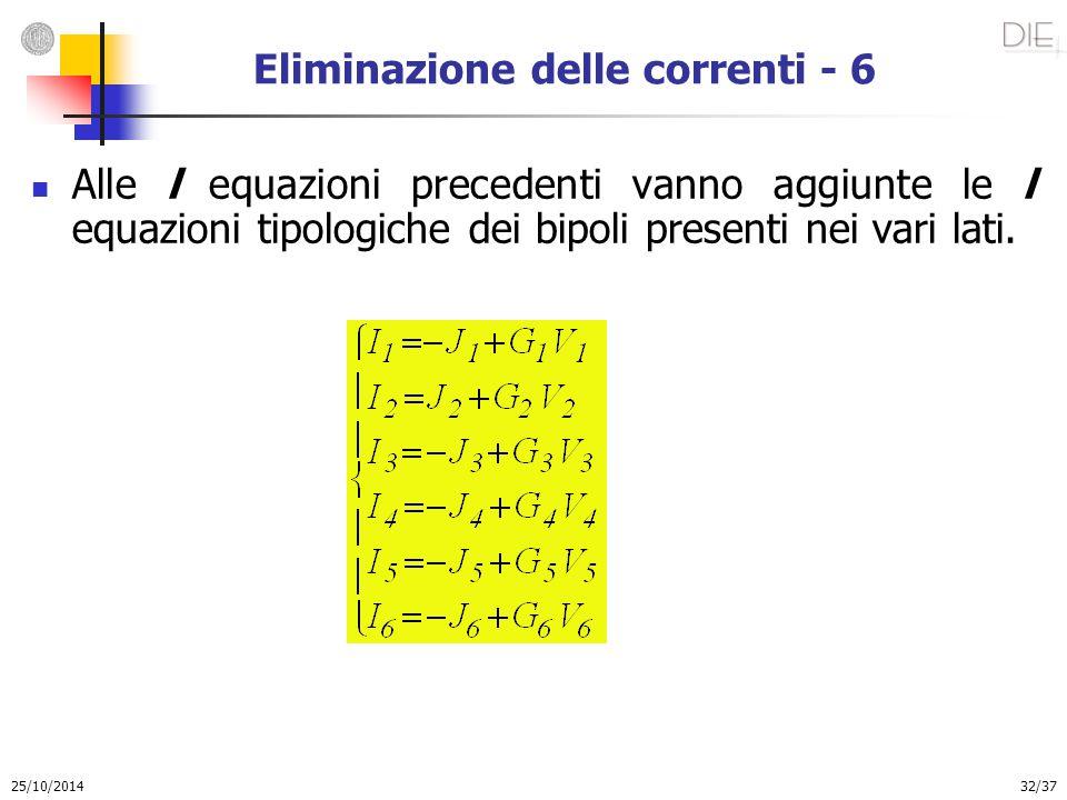 25/10/2014 32/37 Eliminazione delle correnti - 6 Alle l equazioni precedenti vanno aggiunte le l equazioni tipologiche dei bipoli presenti nei vari la