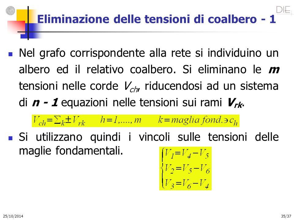 25/10/2014 35/37 Eliminazione delle tensioni di coalbero - 1 Nel grafo corrispondente alla rete si individuino un albero ed il relativo coalbero. Si e