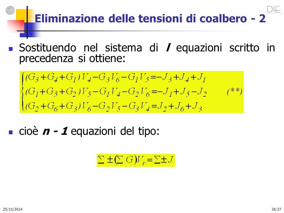 25/10/2014 36/37 Eliminazione delle tensioni di coalbero - 2 Sostituendo nel sistema di l equazioni scritto in precedenza si ottiene: cioè n - 1 equaz
