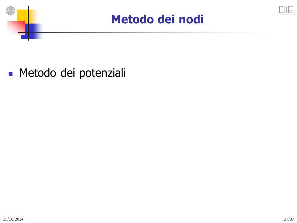 25/10/2014 37/37 Metodo dei nodi Metodo dei potenziali