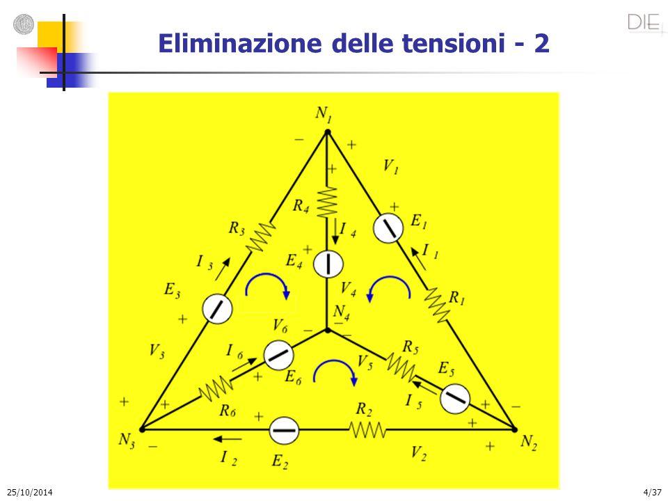 25/10/2014 5/37 Eliminazione delle tensioni - 3 La rete di figura è caratterizzata dai seguenti parametri: Si possono quindi scrivere n – 1 equazioni applicando la LKC ed m equazioni applicando la LKT.