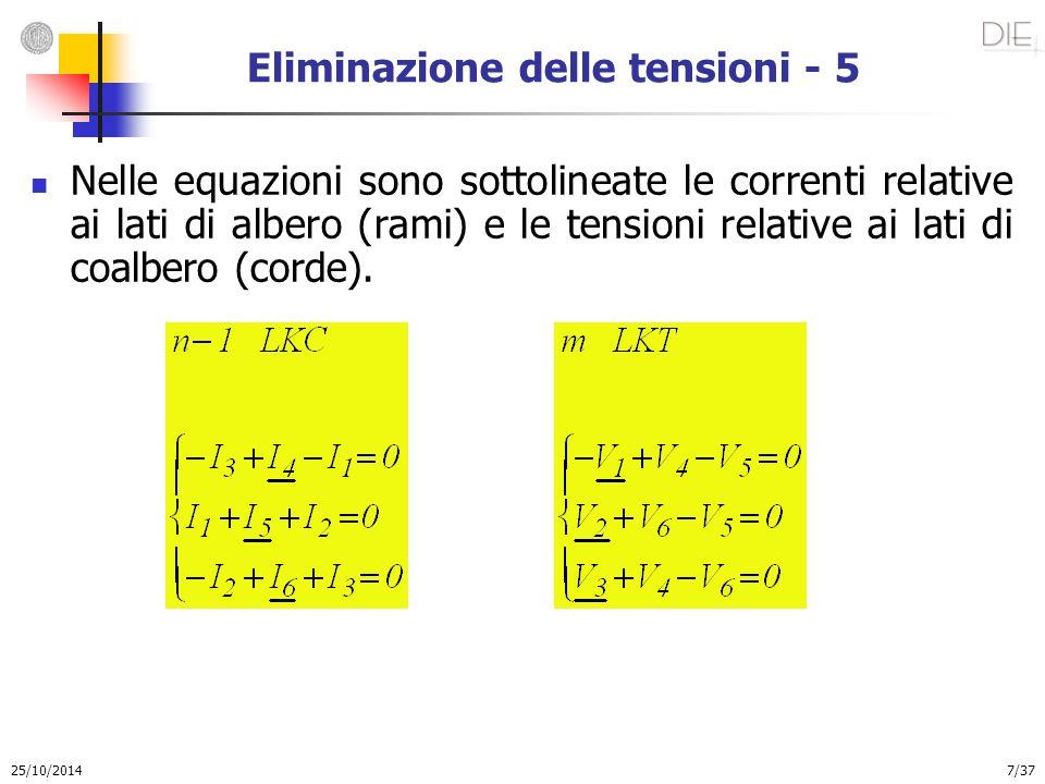 25/10/2014 7/37 Eliminazione delle tensioni - 5 Nelle equazioni sono sottolineate le correnti relative ai lati di albero (rami) e le tensioni relative