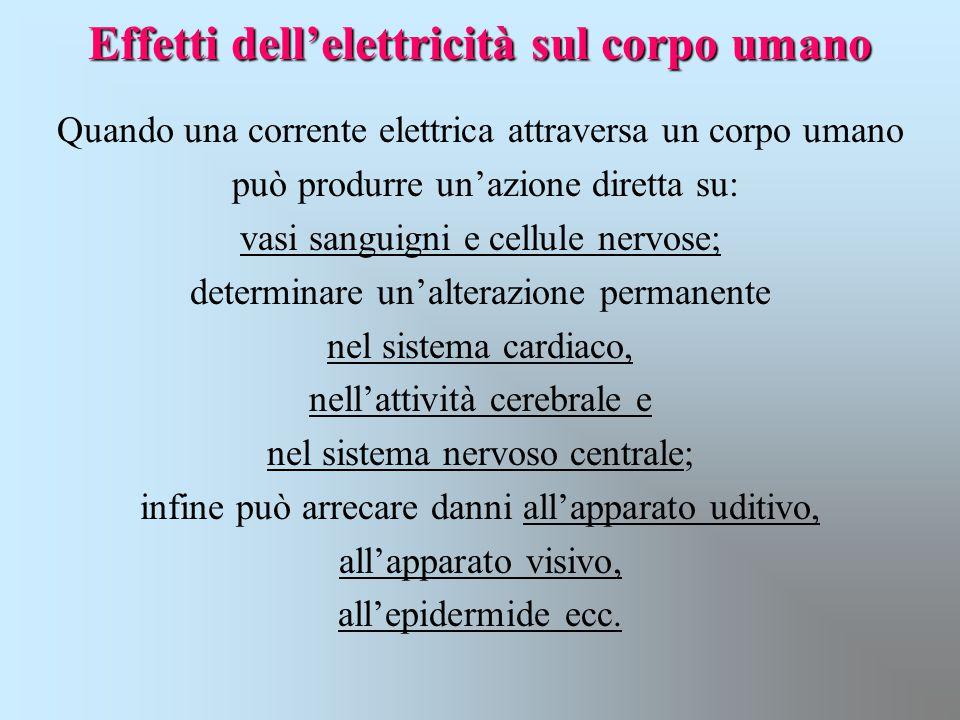 Effetti dell'elettricità sul corpo umano Quando una corrente elettrica attraversa un corpo umano può produrre un'azione diretta su: vasi sanguigni e c