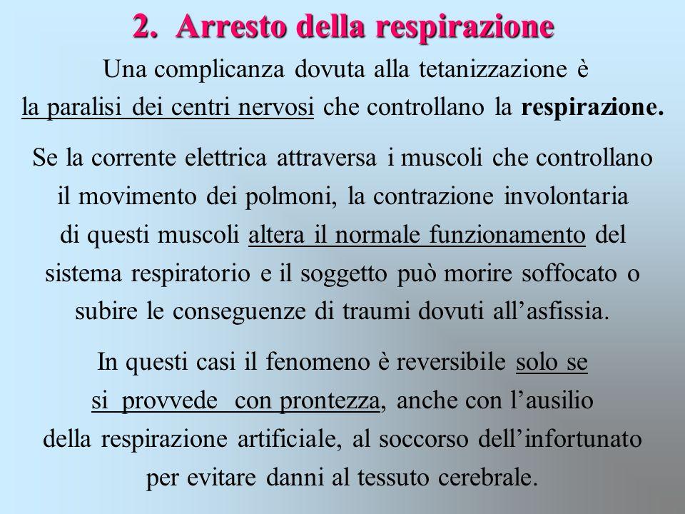 2. Arresto della respirazione Una complicanza dovuta alla tetanizzazione è la paralisi dei centri nervosi che controllano la respirazione. Se la corre