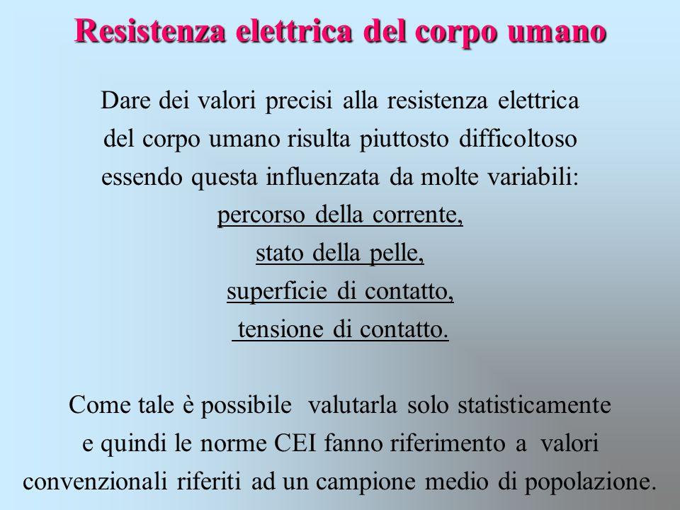 Resistenza elettrica del corpo umano Dare dei valori precisi alla resistenza elettrica del corpo umano risulta piuttosto difficoltoso essendo questa i