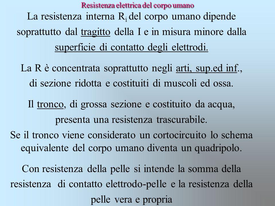 Resistenza elettrica del corpo umano La resistenza interna R i del corpo umano dipende soprattutto dal tragitto della I e in misura minore dalla super