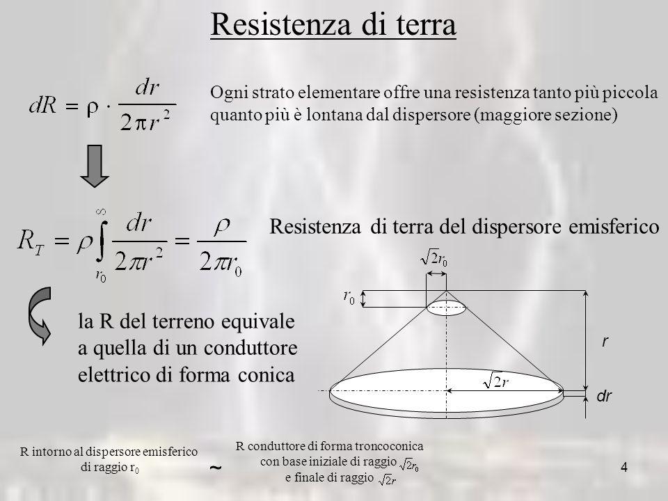 4 Resistenza di terra Ogni strato elementare offre una resistenza tanto più piccola quanto più è lontana dal dispersore (maggiore sezione) Resistenza di terra del dispersore emisferico dr r la R del terreno equivale a quella di un conduttore elettrico di forma conica R intorno al dispersore emisferico di raggio r 0 ~ R conduttore di forma troncoconica con base iniziale di raggio e finale di raggio
