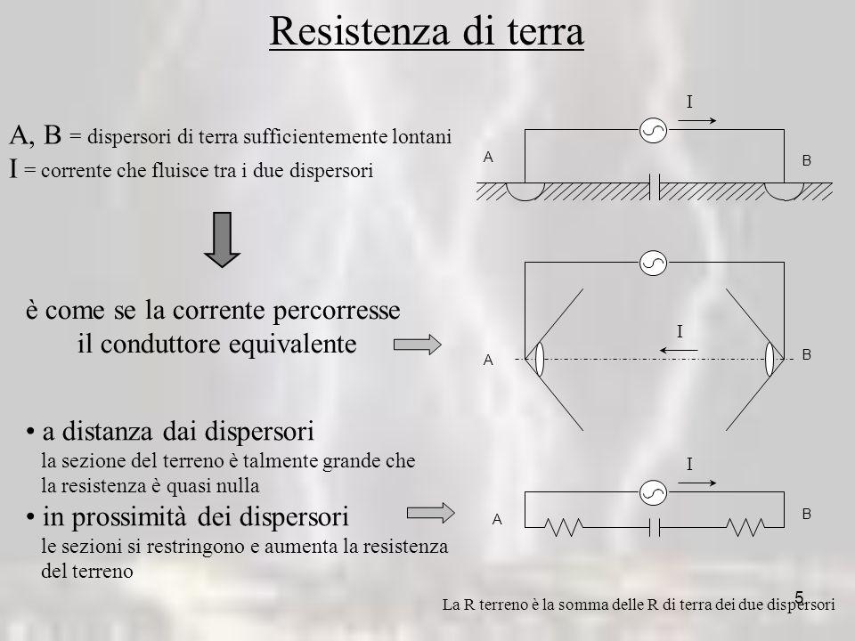 5 I I I A B A A B B Resistenza di terra A, B = dispersori di terra sufficientemente lontani I = corrente che fluisce tra i due dispersori è come se la corrente percorresse il conduttore equivalente a distanza dai dispersori la sezione del terreno è talmente grande che la resistenza è quasi nulla in prossimità dei dispersori le sezioni si restringono e aumenta la resistenza del terreno La R terreno è la somma delle R di terra dei due dispersori