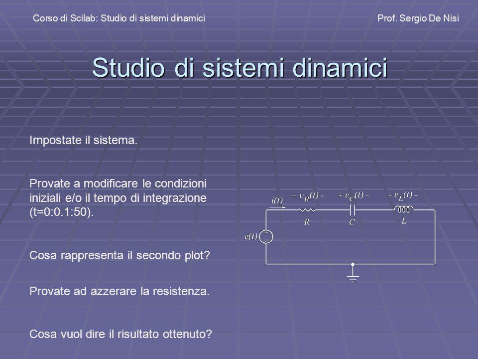Studio di sistemi dinamici Corso di Scilab: Studio di sistemi dinamiciProf. Sergio De Nisi Impostate il sistema. Provate a modificare le condizioni in