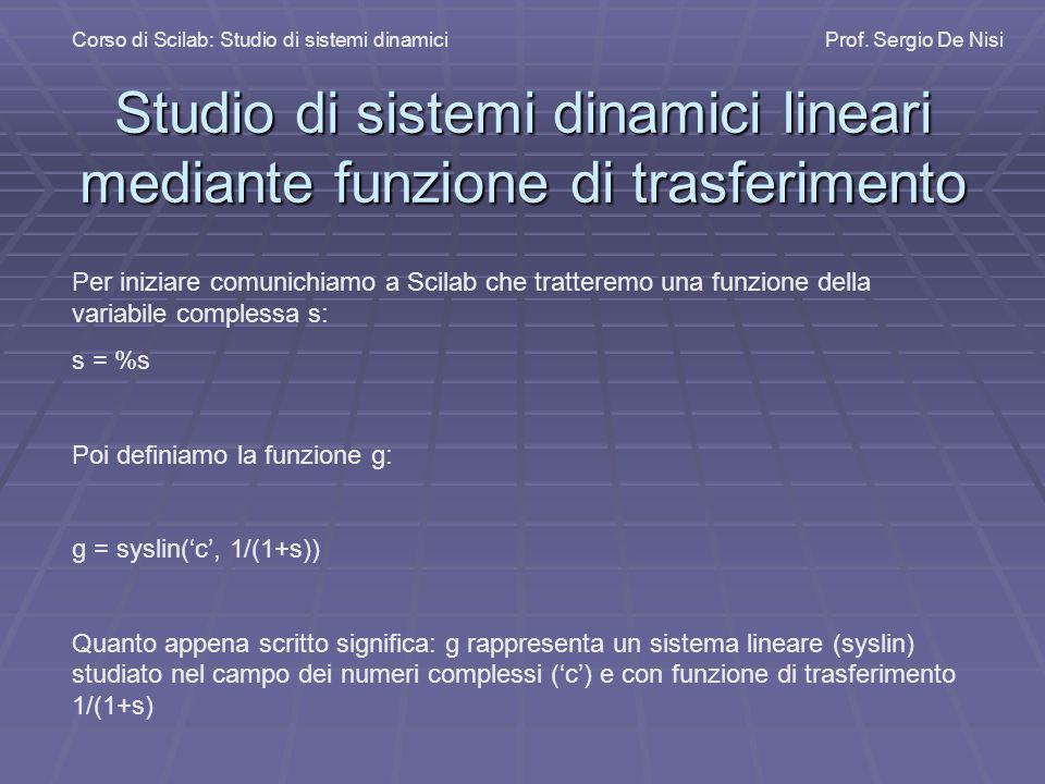 Studio di sistemi dinamici lineari mediante funzione di trasferimento Corso di Scilab: Studio di sistemi dinamiciProf. Sergio De Nisi Per iniziare com