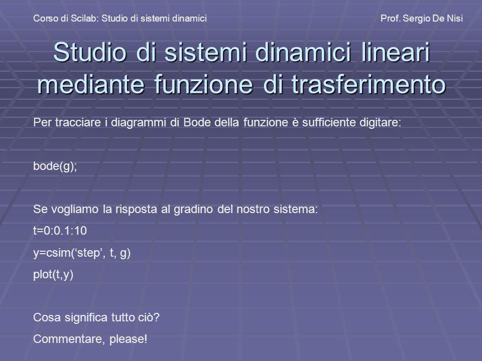 Studio di sistemi dinamici lineari mediante funzione di trasferimento Corso di Scilab: Studio di sistemi dinamiciProf. Sergio De Nisi Per tracciare i