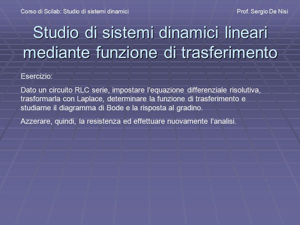 Studio di sistemi dinamici lineari mediante funzione di trasferimento Corso di Scilab: Studio di sistemi dinamiciProf. Sergio De Nisi Esercizio: Dato