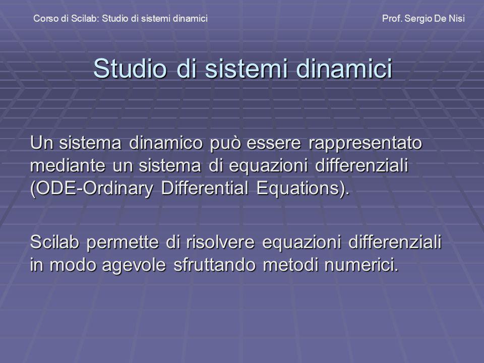 Studio di sistemi dinamici Un sistema dinamico può essere rappresentato mediante un sistema di equazioni differenziali (ODE-Ordinary Differential Equa