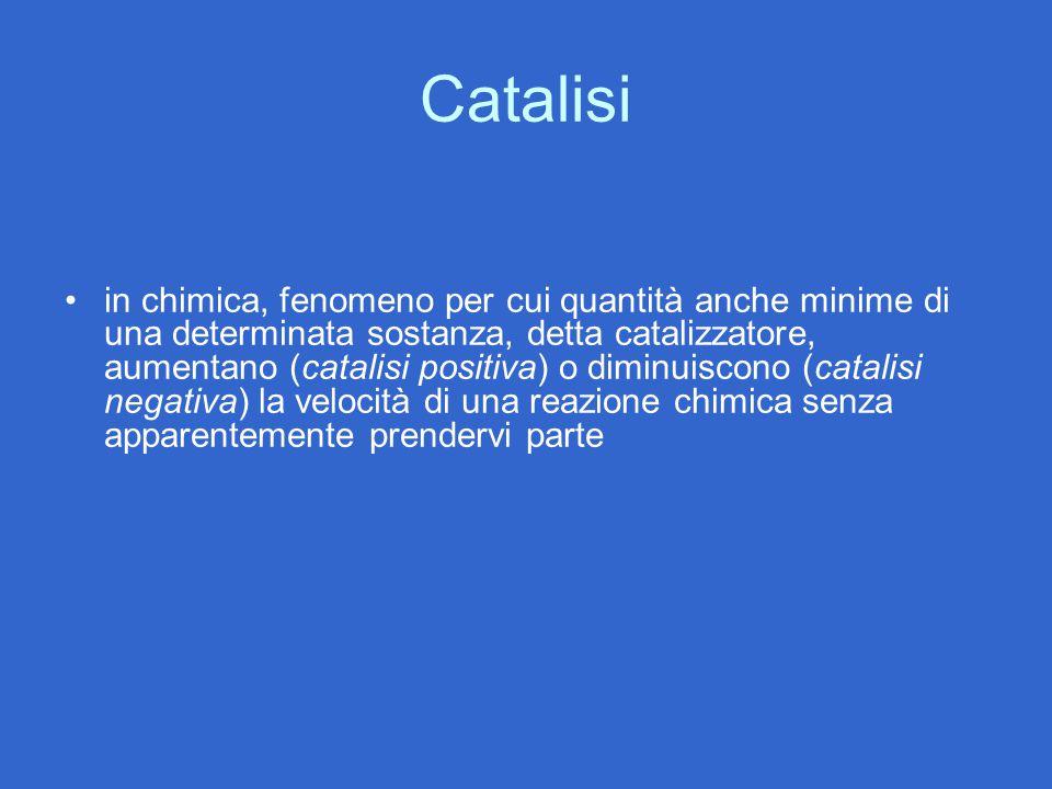 Catalisi in chimica, fenomeno per cui quantità anche minime di una determinata sostanza, detta catalizzatore, aumentano (catalisi positiva) o diminuis
