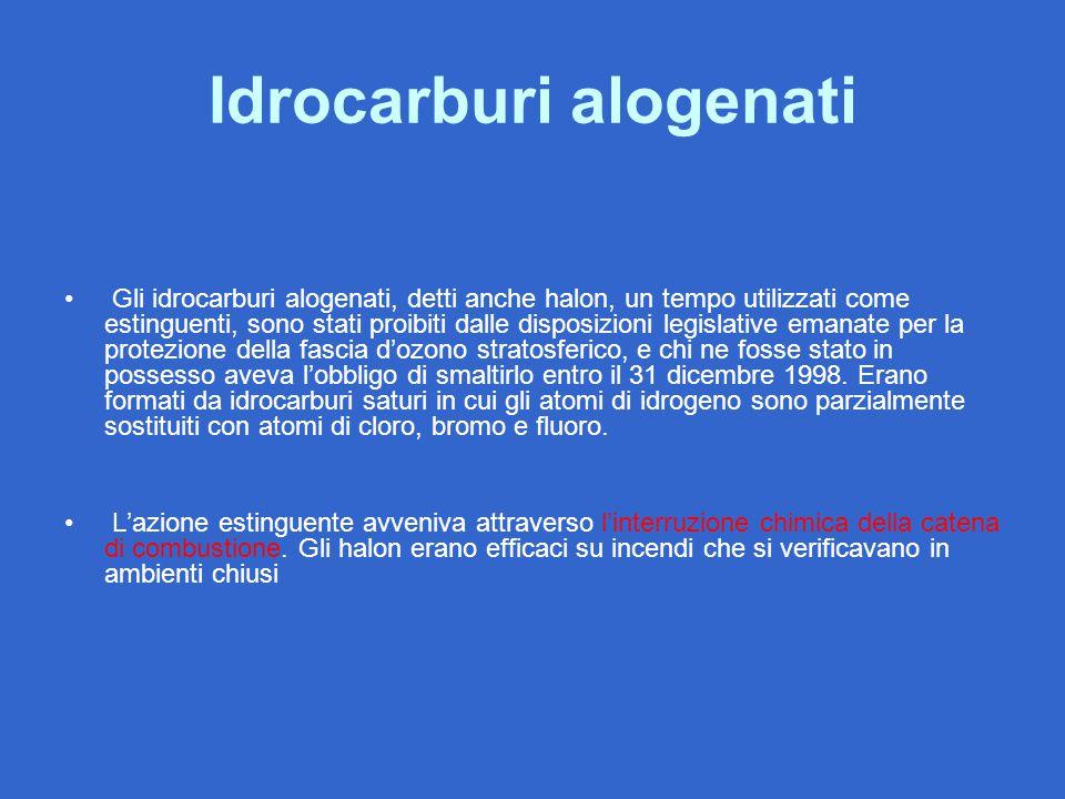 Idrocarburi alogenati Gli idrocarburi alogenati, detti anche halon, un tempo utilizzati come estinguenti, sono stati proibiti dalle disposizioni legis