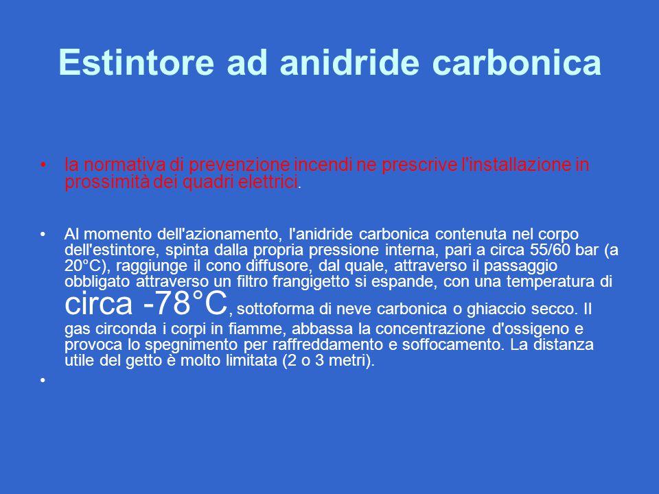 Estintore ad anidride carbonica la normativa di prevenzione incendi ne prescrive l'installazione in prossimità dei quadri elettrici. Al momento dell'a