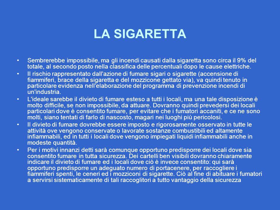 LA SIGARETTA Sembrerebbe impossibile, ma gli incendi causati dalla sigaretta sono circa il 9% del totale, al secondo posto nella classifica delle perc