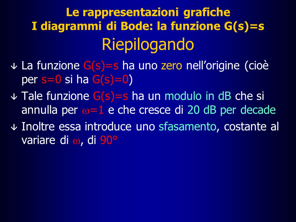  = 90° per ogni valore di  Le rappresentazioni grafiche La funzione G(s)=s: diagramma della fase  [rad] 10 0 10 2 10 3 10 4 10 5 10 1  /4  /2 3  /4  -- -3  /4 -  /2 -  /4  [rad/s]