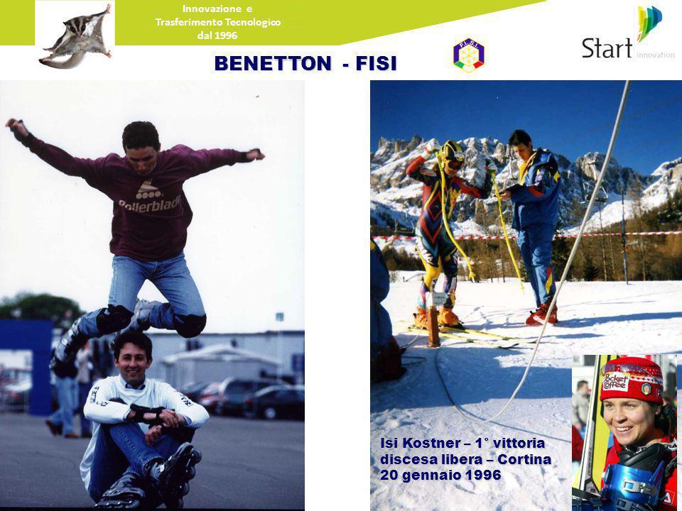 Innovazione e Trasferimento Tecnologico dal 1996 BENETTON - FISI Isi Kostner – 1° vittoria discesa libera – Cortina 20 gennaio 1996
