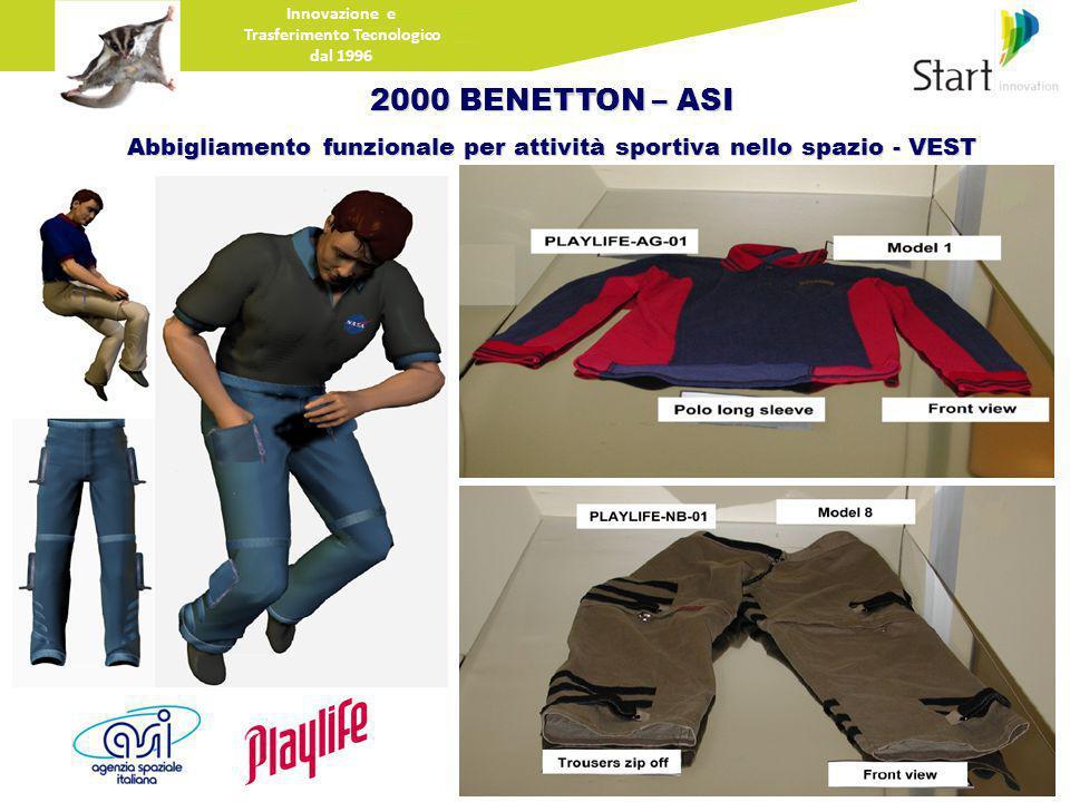 Innovazione e Trasferimento Tecnologico dal 1996 2000 BENETTON – ASI Abbigliamento funzionale per attività sportiva nello spazio - VEST