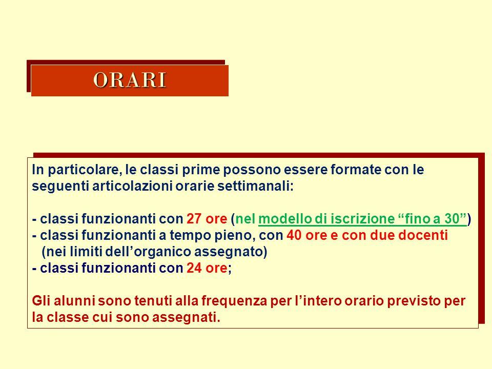 ORARIORARI In particolare, le classi prime possono essere formate con le seguenti articolazioni orarie settimanali: - classi funzionanti con 27 ore (n