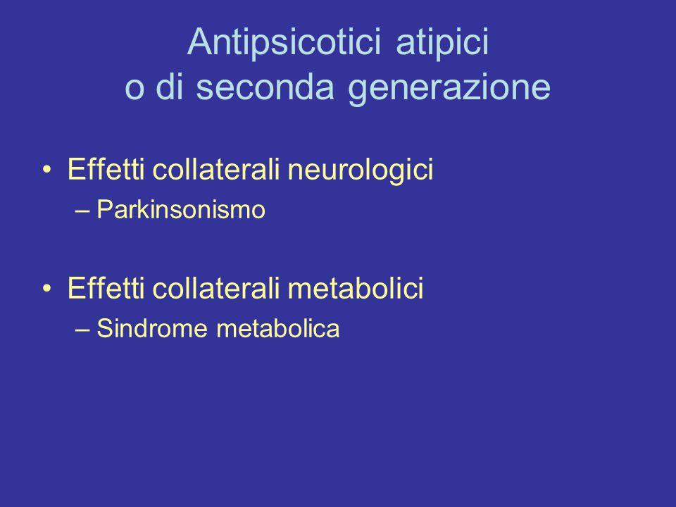 Antipsicotici atipici o di seconda generazione Effetti collaterali neurologici –Parkinsonismo Effetti collaterali metabolici –Sindrome metabolica