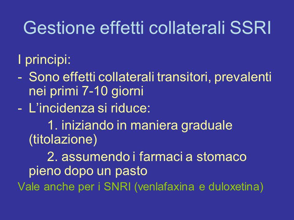 Gestione effetti collaterali SSRI Strategia principale: Riduzione dose e ripresa titolazione lenta (verifica delle corrette modalità di assunzione) Attenzione agli orari di assunzione perché il profilo di collateralità sedativa è differente