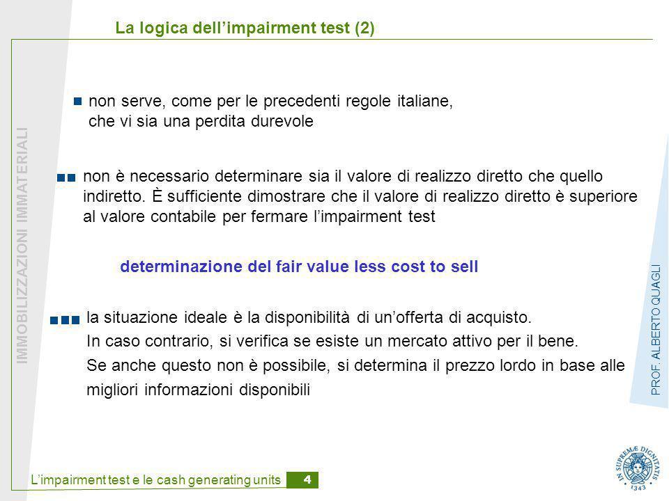 L'impairment test e le cash generating units 4 IMMOBILIZZAZIONI IMMATERIALI PROF. ALBERTO QUAGLI La logica dell'impairment test (2) non serve, come pe