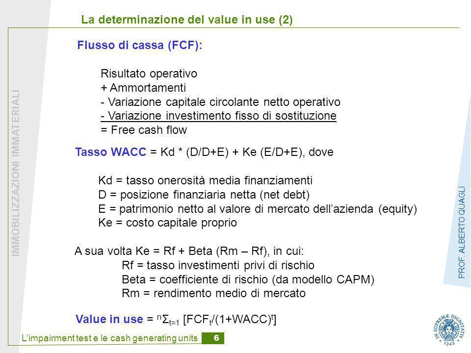 L'impairment test e le cash generating units 6 IMMOBILIZZAZIONI IMMATERIALI PROF. ALBERTO QUAGLI La determinazione del value in use (2) Value in use =