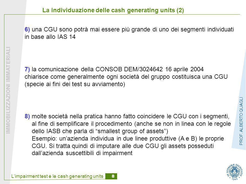 L'impairment test e le cash generating units 8 IMMOBILIZZAZIONI IMMATERIALI PROF. ALBERTO QUAGLI La individuazione delle cash generating units (2) 8)