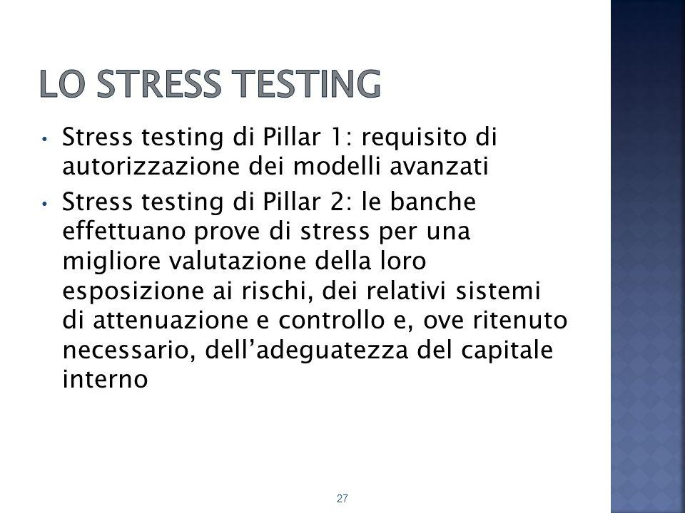 Stress testing di Pillar 1: requisito di autorizzazione dei modelli avanzati Stress testing di Pillar 2: le banche effettuano prove di stress per una migliore valutazione della loro esposizione ai rischi, dei relativi sistemi di attenuazione e controllo e, ove ritenuto necessario, dell'adeguatezza del capitale interno 27