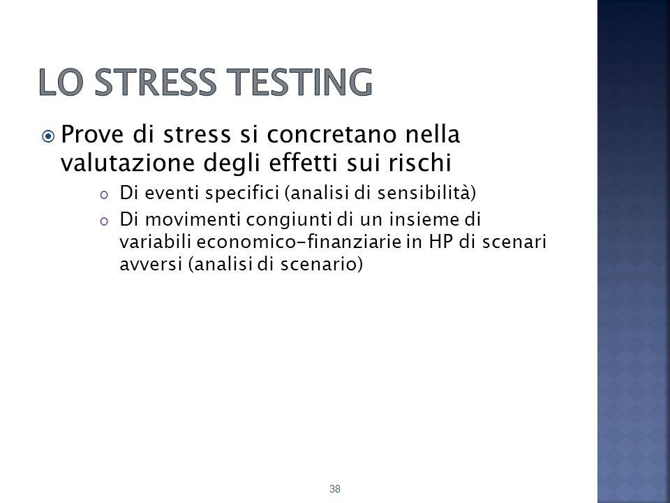  Prove di stress si concretano nella valutazione degli effetti sui rischi Di eventi specifici (analisi di sensibilità) Di movimenti congiunti di un insieme di variabili economico-finanziarie in HP di scenari avversi (analisi di scenario) 38