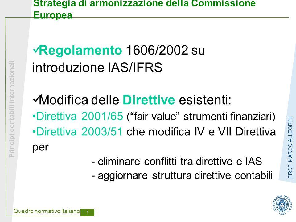 Quadro normativo italiano 1 Principi contabili internazionali PROF.MARCO ALLEGRINI Strategia di armonizzazione della Commissione Europea Regolamento 1