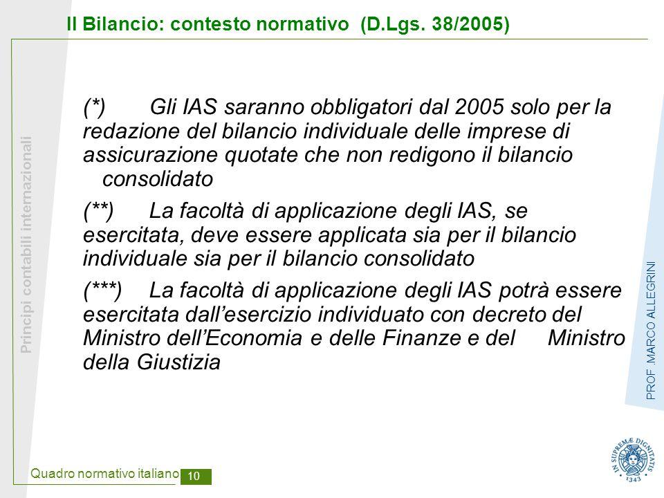 Quadro normativo italiano 10 Principi contabili internazionali PROF.MARCO ALLEGRINI Il Bilancio: contesto normativo (D.Lgs. 38/2005) (*)Gli IAS sarann