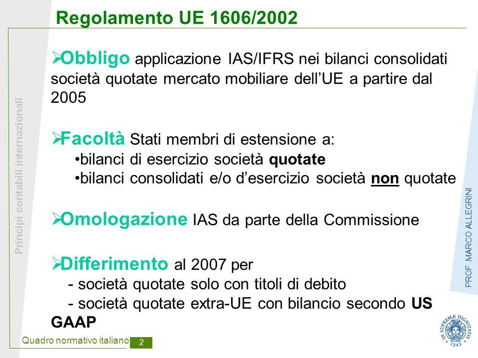 Quadro normativo italiano 2 Principi contabili internazionali PROF.MARCO ALLEGRINI Regolamento UE 1606/2002  Obbligo applicazione IAS/IFRS nei bilanc