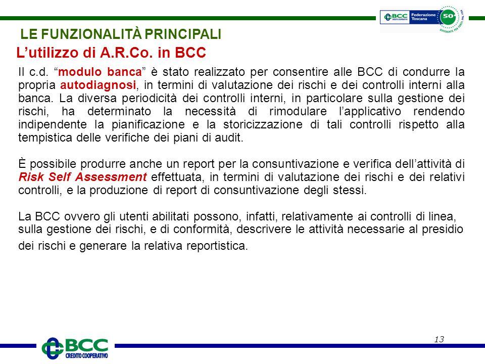 """13 Il c.d. """"modulo banca"""" è stato realizzato per consentire alle BCC di condurre la propria autodiagnosi, in termini di valutazione dei rischi e dei c"""