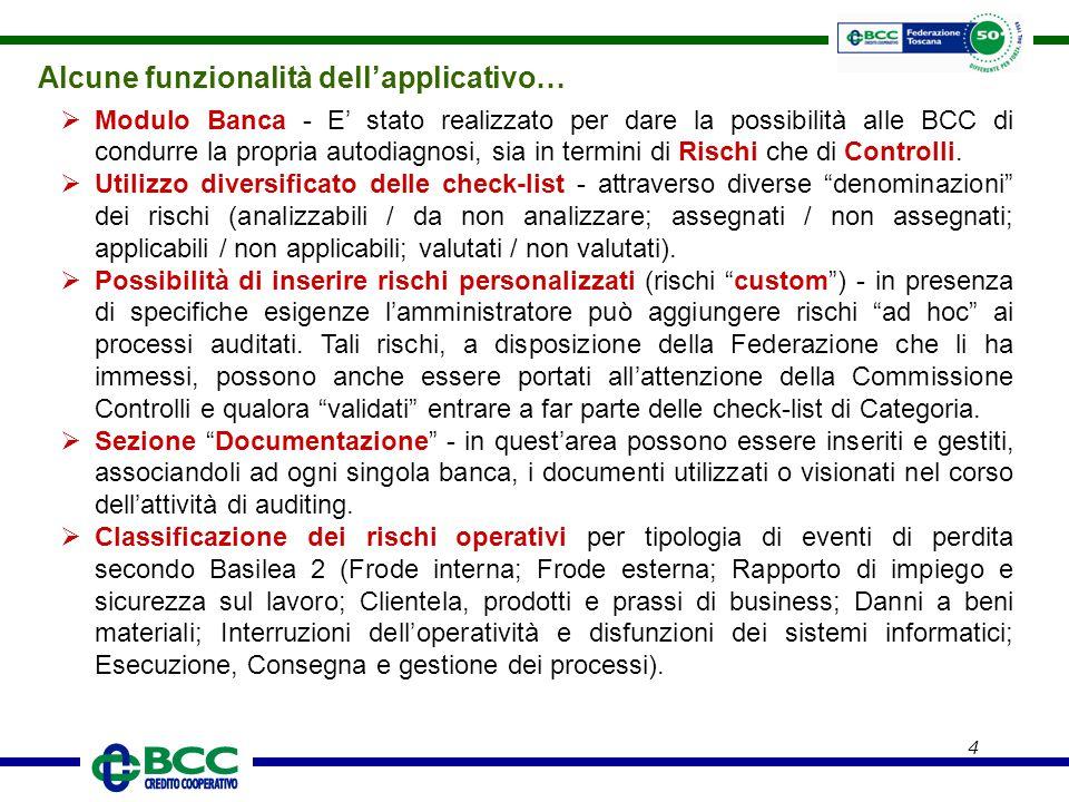 4 Alcune funzionalità dell'applicativo…  Modulo Banca - E' stato realizzato per dare la possibilità alle BCC di condurre la propria autodiagnosi, sia