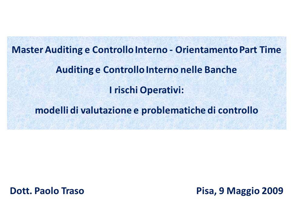 1 Master Auditing e Controllo Interno - Orientamento Part Time Auditing e Controllo Interno nelle Banche I rischi Operativi: modelli di valutazione e problematiche di controllo Dott.