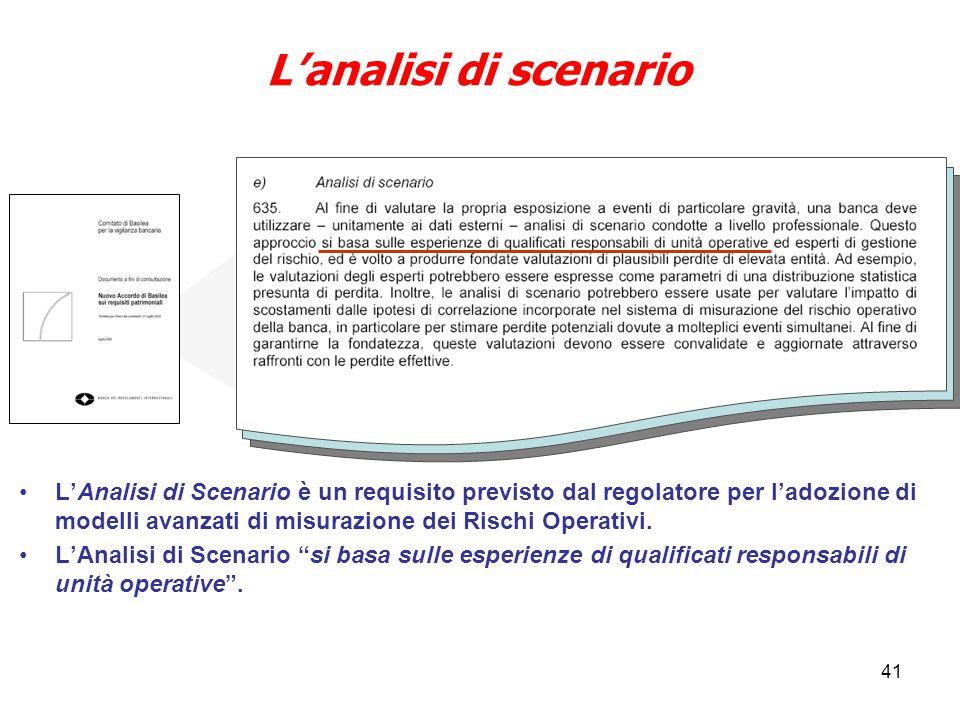41 L'Analisi di Scenario è un requisito previsto dal regolatore per l'adozione di modelli avanzati di misurazione dei Rischi Operativi.