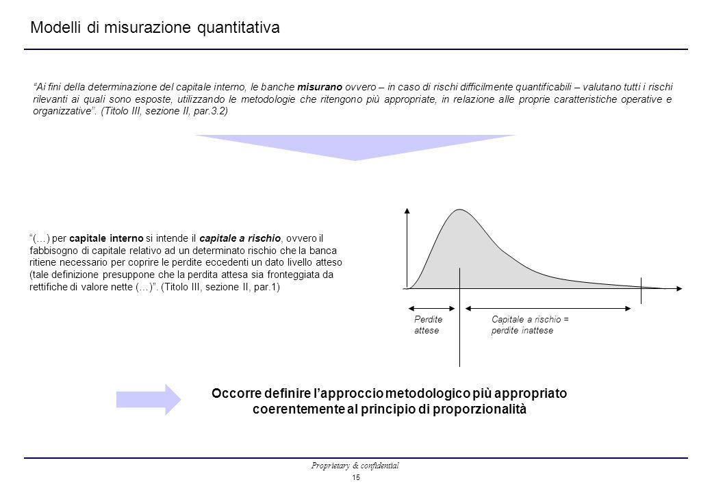 Proprietary & confidential 15 Occorre definire l'approccio metodologico più appropriato coerentemente al principio di proporzionalità Modelli di misur