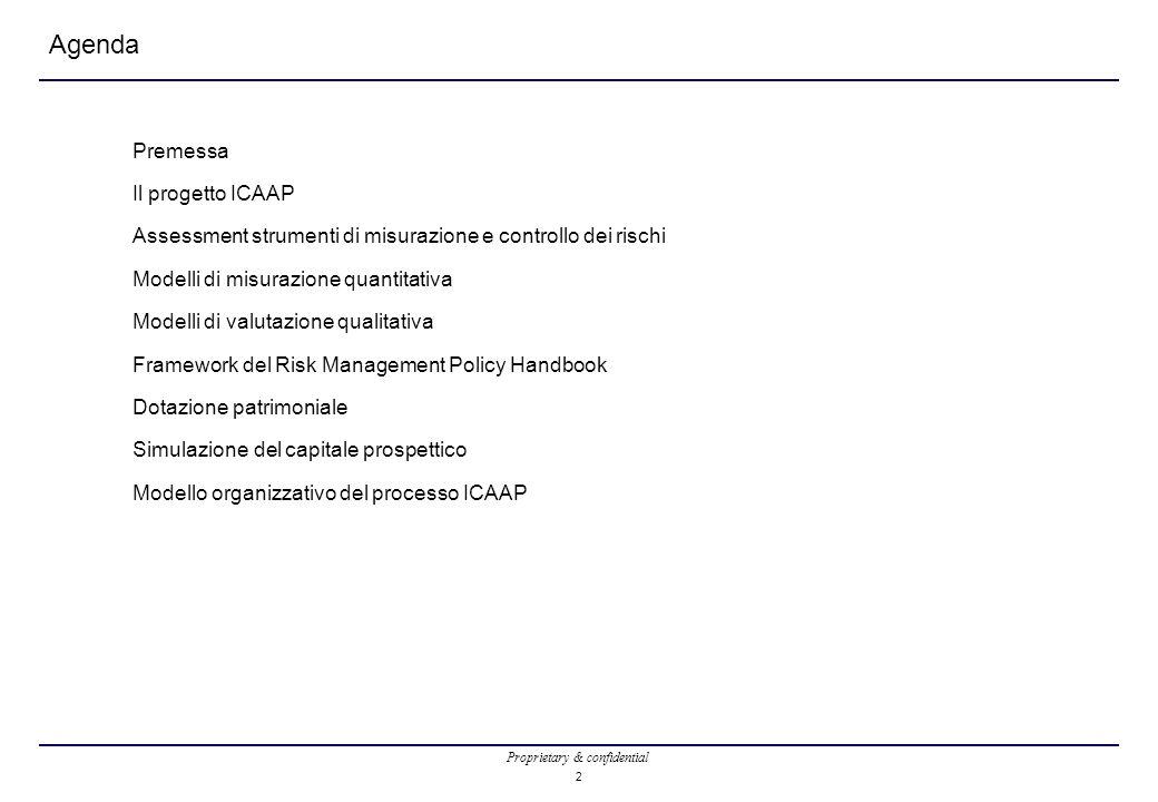 Proprietary & confidential 2 Agenda Premessa Il progetto ICAAP Assessment strumenti di misurazione e controllo dei rischi Modelli di misurazione quant