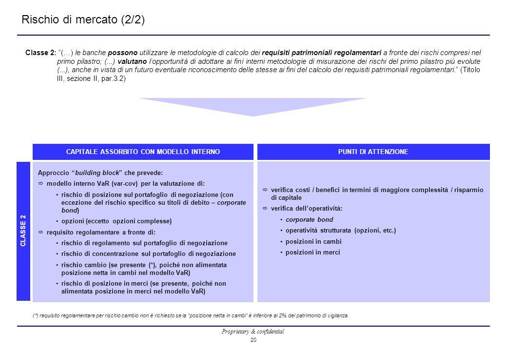 """Proprietary & confidential 20 Rischio di mercato (2/2) Classe 2: """"(…) le banche possono utilizzare le metodologie di calcolo dei requisiti patrimonial"""