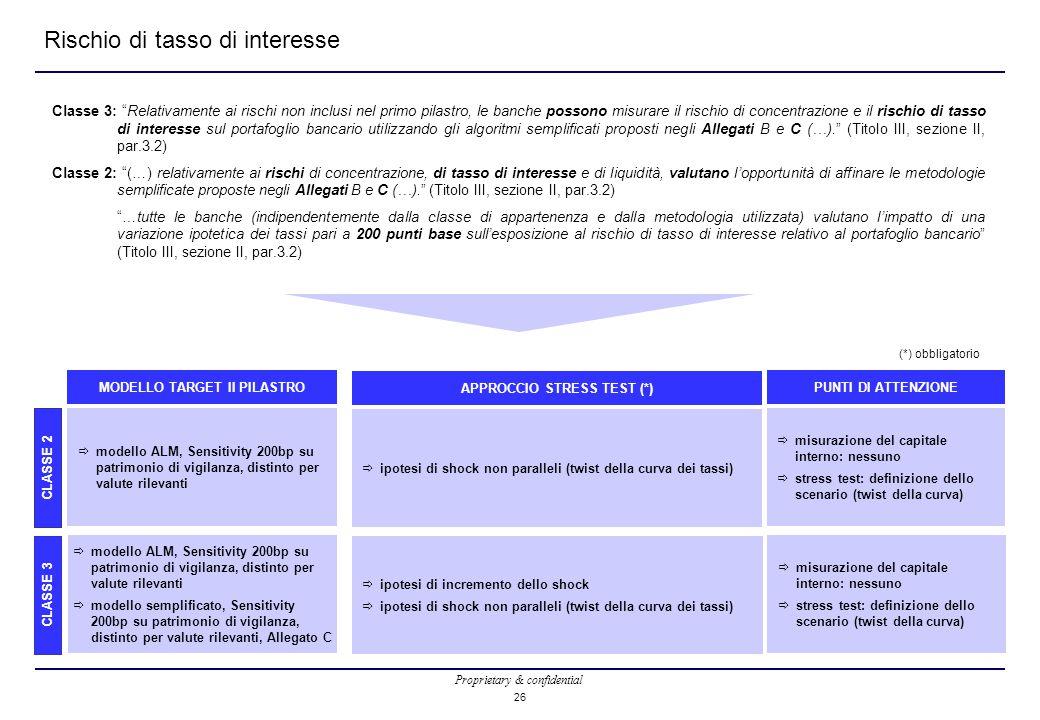 Proprietary & confidential 26 Rischio di tasso di interesse Classe 3: Relativamente ai rischi non inclusi nel primo pilastro, le banche possono misurare il rischio di concentrazione e il rischio di tasso di interesse sul portafoglio bancario utilizzando gli algoritmi semplificati proposti negli Allegati B e C (…). (Titolo III, sezione II, par.3.2) Classe 2: (…) relativamente ai rischi di concentrazione, di tasso di interesse e di liquidità, valutano l'opportunità di affinare le metodologie semplificate proposte negli Allegati B e C (…). (Titolo III, sezione II, par.3.2) …tutte le banche (indipendentemente dalla classe di appartenenza e dalla metodologia utilizzata) valutano l'impatto di una variazione ipotetica dei tassi pari a 200 punti base sull'esposizione al rischio di tasso di interesse relativo al portafoglio bancario (Titolo III, sezione II, par.3.2) CLASSE 2 CLASSE 3  modello ALM, Sensitivity 200bp su patrimonio di vigilanza, distinto per valute rilevanti MODELLO TARGET II PILASTRO  ipotesi di shock non paralleli (twist della curva dei tassi) APPROCCIO STRESS TEST (*)  misurazione del capitale interno: nessuno  stress test: definizione dello scenario (twist della curva) PUNTI DI ATTENZIONE (*) obbligatorio  modello ALM, Sensitivity 200bp su patrimonio di vigilanza, distinto per valute rilevanti  modello semplificato, Sensitivity 200bp su patrimonio di vigilanza, distinto per valute rilevanti, Allegato C  ipotesi di incremento dello shock  ipotesi di shock non paralleli (twist della curva dei tassi)  misurazione del capitale interno: nessuno  stress test: definizione dello scenario (twist della curva)