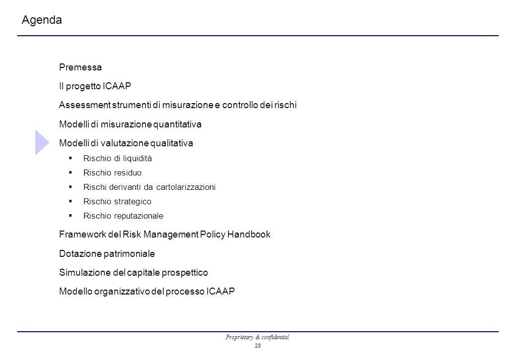 Proprietary & confidential 28 Agenda Premessa Il progetto ICAAP Assessment strumenti di misurazione e controllo dei rischi Modelli di misurazione quantitativa Modelli di valutazione qualitativa  Rischio di liquidità  Rischio residuo  Rischi derivanti da cartolarizzazioni  Rischio strategico  Rischio reputazionale Framework del Risk Management Policy Handbook Dotazione patrimoniale Simulazione del capitale prospettico Modello organizzativo del processo ICAAP