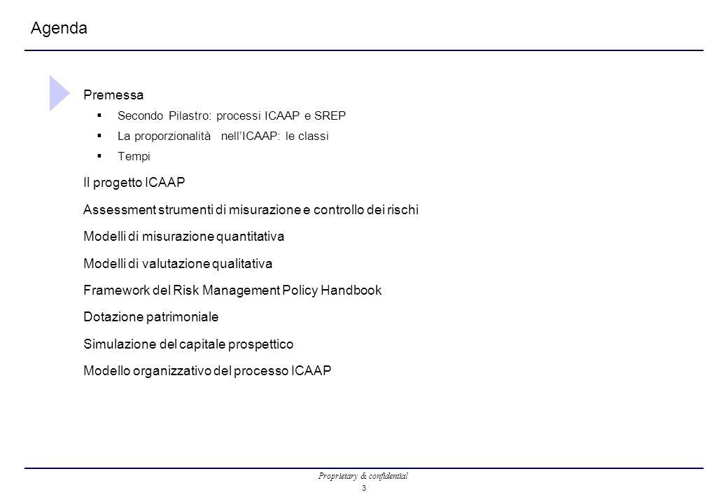 Proprietary & confidential 3 Agenda Premessa  Secondo Pilastro: processi ICAAP e SREP  La proporzionalità nell'ICAAP: le classi  Tempi Il progetto ICAAP Assessment strumenti di misurazione e controllo dei rischi Modelli di misurazione quantitativa Modelli di valutazione qualitativa Framework del Risk Management Policy Handbook Dotazione patrimoniale Simulazione del capitale prospettico Modello organizzativo del processo ICAAP