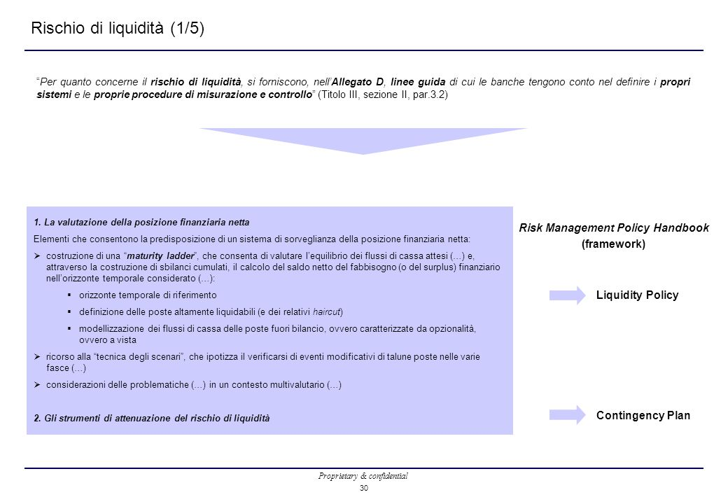 """Proprietary & confidential 30 Rischio di liquidità (1/5) """"Per quanto concerne il rischio di liquidità, si forniscono, nell'Allegato D, linee guida di"""