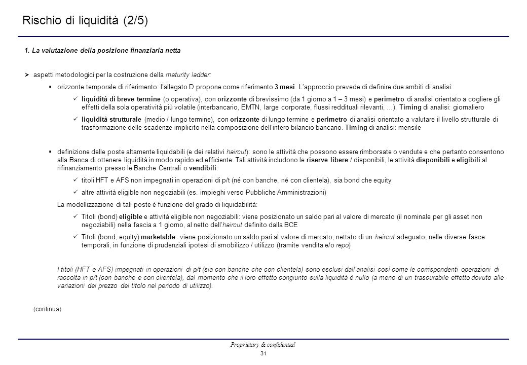 Proprietary & confidential 31 Rischio di liquidità (2/5) 1. La valutazione della posizione finanziaria netta  aspetti metodologici per la costruzione