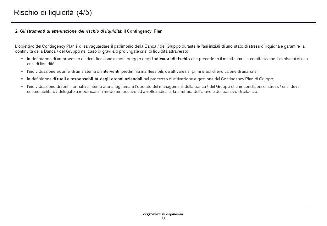 Proprietary & confidential 33 Rischio di liquidità (4/5) 2. Gli strumenti di attenuazione del rischio di liquidità: il Contingency Plan L'obiettivo de
