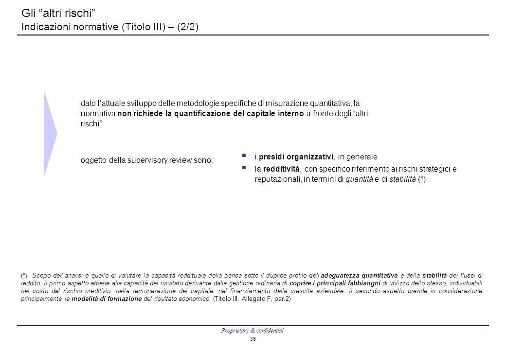 Proprietary & confidential 36 Gli altri rischi Indicazioni normative (Titolo III) – (2/2) dato l'attuale sviluppo delle metodologie specifiche di misurazione quantitativa, la normativa non richiede la quantificazione del capitale interno a fronte degli altri rischi oggetto della supervisory review sono: (*) Scopo dell'analisi è quello di valutare la capacità reddituale della banca sotto il duplice profilo dell'adeguatezza quantitativa e della stabilità dei flussi di reddito.