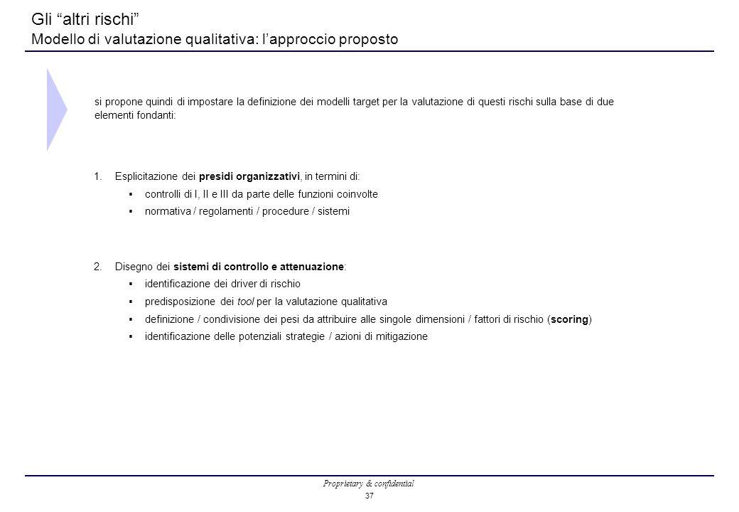 Proprietary & confidential 37 Gli altri rischi Modello di valutazione qualitativa: l'approccio proposto 1.Esplicitazione dei presidi organizzativi, in termini di:  controlli di I, II e III da parte delle funzioni coinvolte  normativa / regolamenti / procedure / sistemi 2.Disegno dei sistemi di controllo e attenuazione:  identificazione dei driver di rischio  predisposizione dei tool per la valutazione qualitativa  definizione / condivisione dei pesi da attribuire alle singole dimensioni / fattori di rischio (scoring)  identificazione delle potenziali strategie / azioni di mitigazione si propone quindi di impostare la definizione dei modelli target per la valutazione di questi rischi sulla base di due elementi fondanti: